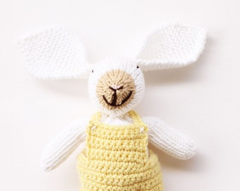 Yellow and white baby toy, Easter bunny, crochet bunny toy, cute bunny plush, new baby gift, bunny rabbit, soft toys, knitted toys