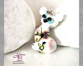Cat white, SRA, Beads, jewellery,pendant