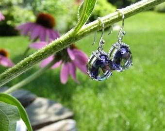 February Birthstone - Purple Amethyst  Faceted Tear Drop Glass Silver Earrings