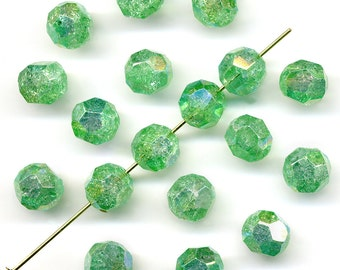 Vintage Crackle Beads 8mm Green AB Faceted Glass W. G. 18 Pcs.