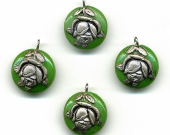 Vintage Pendant Beads 14mm Green Glass w/ Silver Color Rose 4 Pcs.