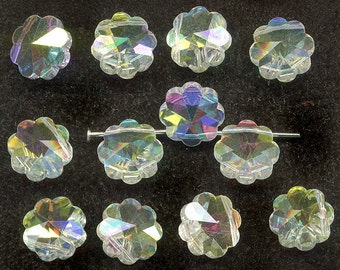 Vintage Swarovski 12mm Margarita Beads, Art. 5110, Top Drill Crystal AB, 12 Pcs.