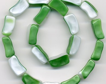 Vintage Bicolor Beads 14mm Emerald Green & White Satin Glass Made in Austria 20 Pcs.