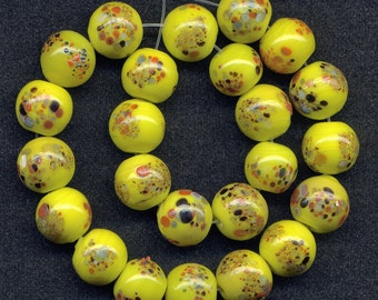 Vintage Yellow Beads 8mm Colorful Speckled Glass Rounds 24 Pcs.