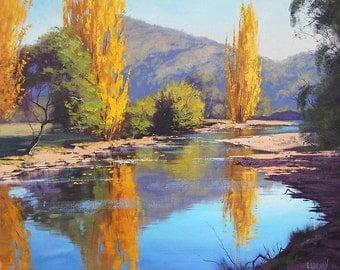 RIVER Oil Painting canvas art Autumns creek Landscape painting