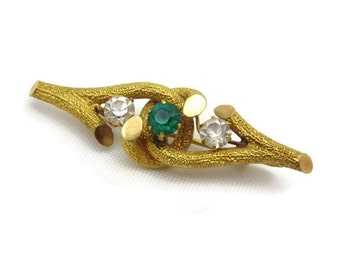 Victorian Brooch - 800 Silver, Clear and Emerald Green Rhinestones