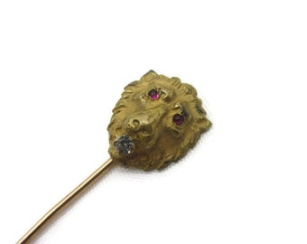 Victorian Stick Pin - Lion Head, Glass Paste Stone, Ruby Red Eyes