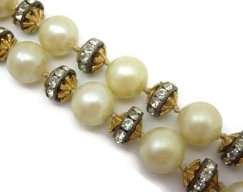 Kenneth Jay Lane Jewelry - Pearl and Rhinestone Necklace, Choker, KJL Laguna, Designer Jewelry, Costume Jewelry