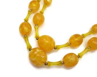 Vintage Beaded Necklace - Yellow Orange Swirl, Costume Jewelry, Double Strand
