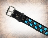 Pyramid Stud Belt - Black & Blue - Studded Leather Belt, Studded Belt, Leather Belt, Mens Leather Belt, Women's Leather Belt