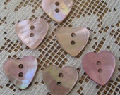 Heart Buttons 9 Small Pink Mother Of Pearl Heart Buttons  HK 7