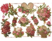 Glittered Scraps Roses  Made In Germany Die Cut Valentine Pink Roses  G7232G