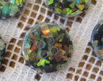 Vintage Buttons 6 Small Plastic Confetti Buttons  HK 1
