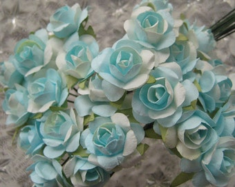 Paper Millinery Flowers 24 Petite Roses In Light Turquoise Mix