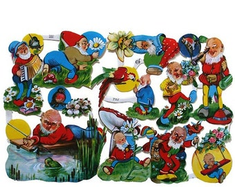 Germany Die Cut LIthograph Paper Scraps Elf Gnome Fairy  7117