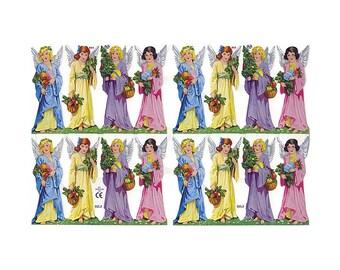 England Paper Scraps Lithograph Die Cut Christmas Angels  865
