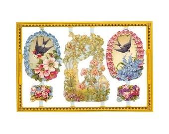 England Paper Lithograph Die Cut Scraps Birds Flowers  A-93
