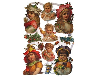 Germany Paper Scraps Lithographed Die Cut Flower Children Fairy  7184