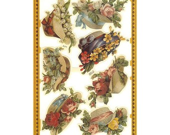 England Paper Die Cut Scraps Lithograph Straw Hats And Flowers  A-171