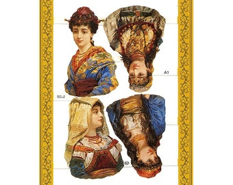 England Vintage Gypsy Ladies Lithographed Die Cut Paper Scraps A 1 Out Of Print