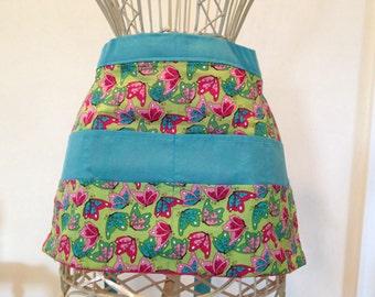 Waist Half Apron Vendor Teacher Nursery Daycare Butterflies Turquoise Pink (8 Pockets)