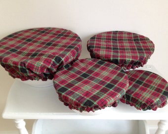 Holiday Reusable Food Bowl Covers Environmental Fabric Plaid Tartan (4 Pcs)