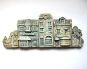 RESERVED for WireInspired Small Town Clay Sculpture with Sawtooth Hanger for Hanging