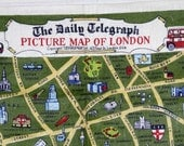 Irish Linen  tea towel -LONDON  Street Map - Webb's Pure Linen