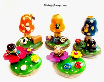Painted Rocks, Paperweights, Candle Holders