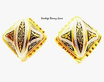 Vintage Damascene Earrings, Gold / Black Enamel Clip Ons