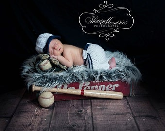 Custom Crochet Baby Baseball Hat and Pant Set