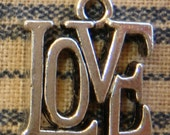 4 Antiqued Silver LOVE Word Charms Symbols Groovy Hippie 1960's Style