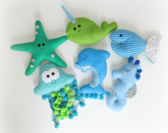 Under the Sea Garland  starfish, sea horse, narwhal, dolphin, fish, jellyfish