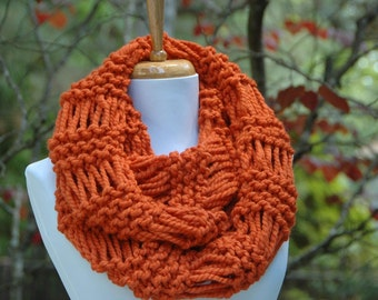 Chunky Scarf, Knit Scarf, Pumpkin Orange Scarf, Infinity Scarf, Circle Scarf, Women Scarves, Fall Scarf, Winter Scarf, Knitted Neck warmer