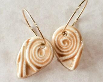 Butterscotch Swirl Drops Porcelain Earrings