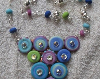 New Soon to be Published Design by Artist Shelley Cole Lampwork Necklace Rainbows of Light  SRAJD #418