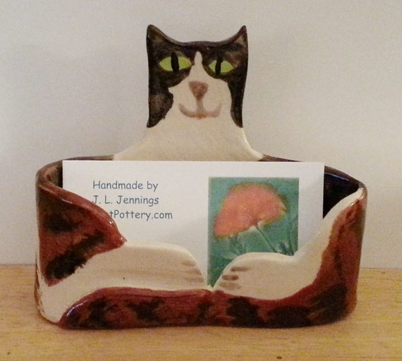 Tabby cat business card holder hm black brown white green for Cat business card holder