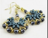 Super Duo Half Hoop Dangle Seed Bead Beadwork Earrings in Teal and Gold