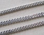 Antique Silver Heavy Plated Flat Twist Cut Curb Chain 7mm x 5mm 356
