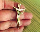 Crucifix modern 24k solid gold