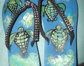 New Sea Turtle Hand Painted Flip Flops Made to Order Size Adult Small Free Shipping Summer Shoes Southern Living