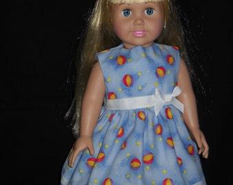 Blue with Beach Balls Print American Girl 18 inch Doll Dress Handmade