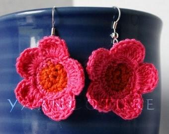 Crochet Hot Pink & Orange Flower Power Dangle Earrings - Island Girl Collection