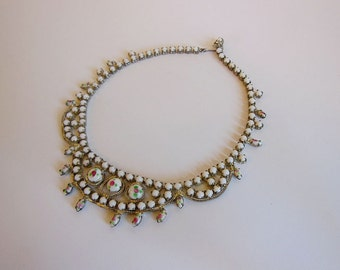 50s necklace / Vintage 1950's Rhinestone Roses Necklace