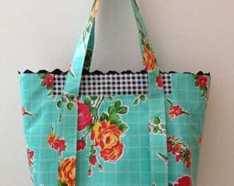 Beth's Aqua Vintage Rose Oilcloth Multi Market Tote Bag with Rick Rack