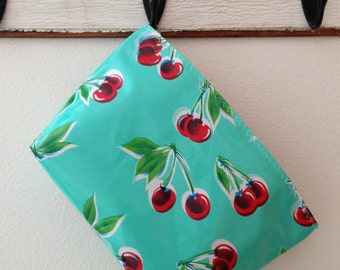 Beth's Large Aqua Cherry Oilcloth Cosmetic Travel Bag with Zipper Closure