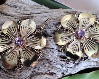 Vintage Red Brass Amethyst Earrings