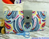 Handmade Long Wallet  BiFold Clutch - Vegan Wallet  -  Damask Sky Wallet