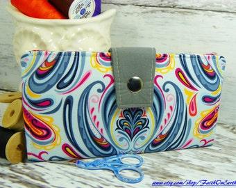 Handmade Long Wallet  BiFold Clutch - Vegan Wallet  -  Damask Sky Wallet or half size unisex wallet