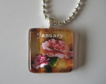 Birth Month with Flower Glass Tile Pendant (Choose your month)